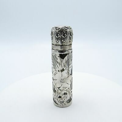 Antique Sterling Lid and Silver Overlay Perfume Scent Bottle, NR