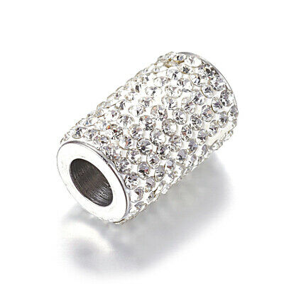 10x 304 Stainless Steel Paved Rhinestone Magnetic Clasps Column Closure 6mm Hole