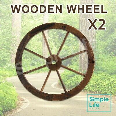 Large Garden Wooden Wheel x2 Decor Feature Wagon Wheels Outdoor Decoration