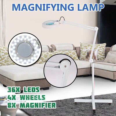 8XMagnifying Lamp Glass Round Head Beauty Magnifier Floor Stand Moveable Light