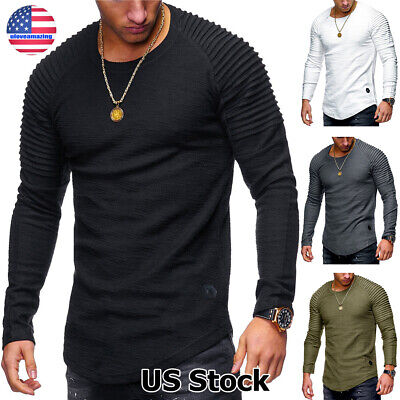 US Mens Slim Fit O Neck Long Sleeve Muscle Tee T-shirt Casual Tops Henley Shirts