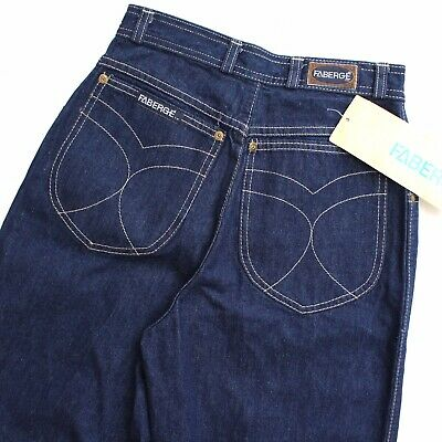 Vintage 80's Faberge Dark Blue Denim High Waisted Mum Jeans 24 XS Extra Small