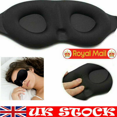 Black 3D Eye Mask Shade Blindfold Blinder Travel Sleep Adjustable Soft Cover UK