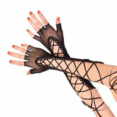 Womens Half Finger Elbow Long Gloves Fishnet Criss Lace Cross Up Bandage Mittens