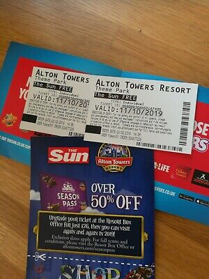 Alton Towers Tickets  X2 For 11th October 2019