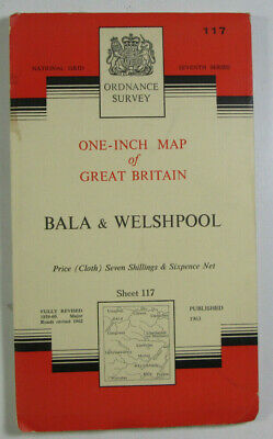 1963 Old OS Ordnance Survey Seventh Series one-inch CLOTH map 117 Bala Welshpool