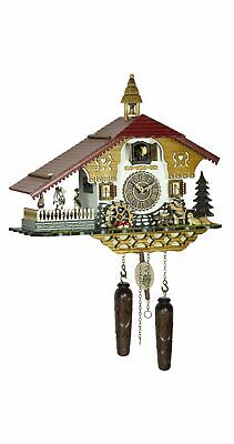 Quartz Cuckoo Clock Black forest house with music and dan.. TU 4250 QMT HZZG NEW