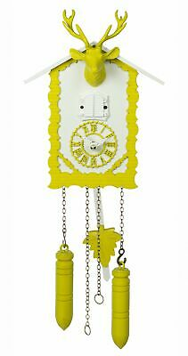 Quartz Cuckoo Clock with music and deer head, yellow TU 360/20 QM gelb NEW