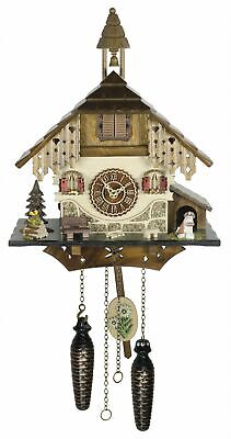 Quartz Cuckoo Clock Black forest house with music TU 4236 QM NEW