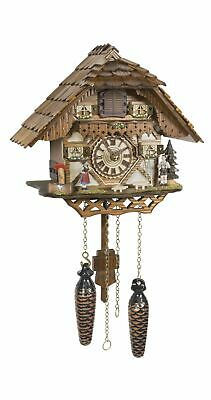 Quartz Cuckoo Clock Black forest house with music TU 4227 QM NEW