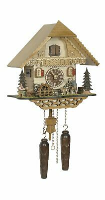 Quartz Cuckoo Clock Black forest house with music, moving .. TU 4220 QM HZZG NEW