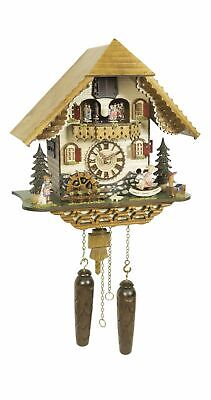 Quartz Cuckoo Clock Black forest house with music, turnin.. TU 4219 QMT HZZG NEW
