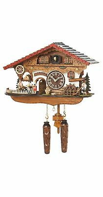 Quartz Cuckoo Clock Black Forest house with moving beer d.. TU 4210 QMT HZZG NEW