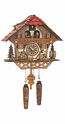 Quartz Cuckoo Clock Black Forest house with moving beer d.. TU 4208 QMT HZZG NEW