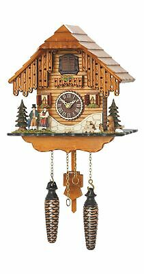 Quartz Cuckoo Clock Black forest house with music TU 4206 QM NEW