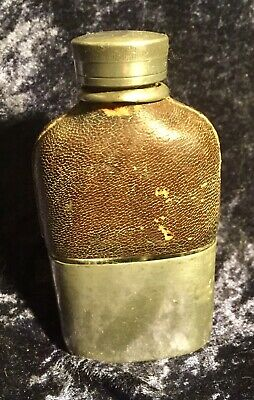 Antique Early 1900s Small G & J.W Hawksley Sheffield Hip Flask, Leather & Glass