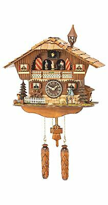 Quartz Cuckoo Clock Black forest house with music, moving .. TU 495 QMT HZZG NEW
