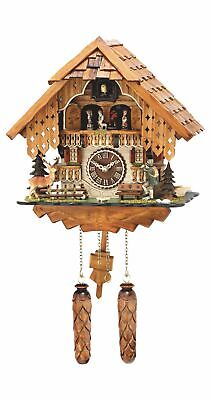 Quartz Cuckoo Clock Black forest house with music, turning.. TU 493 QMT HZZG NEW