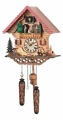 Quartz Cuckoo Clock Black forest house with music, turning.. TU 474 QMT HZZG NEW