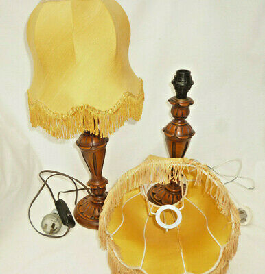 VINTAGE MID CENTURY RETRO PAIR TABLE / BED SIDE LAMPS with SHADES original 1960s