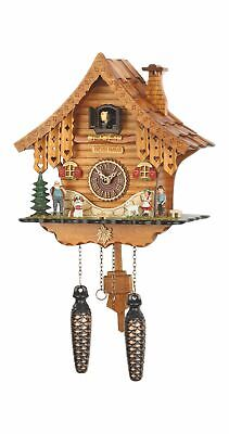 Quartz Cuckoo Clock Black forest house with music TU 471 QM NEW
