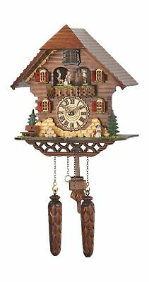 Quartz Cuckoo Clock Black forest house with music, turning.. TU 469 QMT HZZG NEW