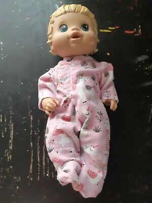 Homemade Little Baby Alive (33cm Doll) Pink With Unicorns  Coverall Pyjamas