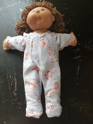 Homemade Cabbage Patch Doll Blue with Flowers and Llamas Coverall Pyjamas