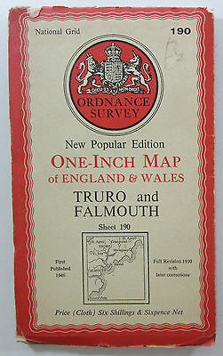 1946 Old OS Ordnance Survey one-inch map New Popular Ed CLOTH 190 Truro Falmouth