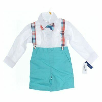 Crown & Ivy Boys Shirt, size 3/3T,  turquoise, white,  cotton, polyester