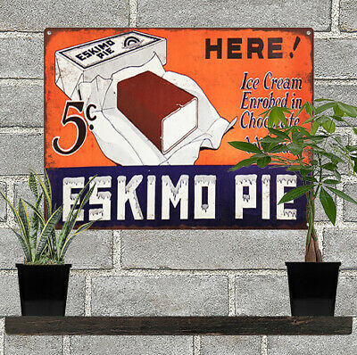 1929 Eskimo Pie Ice Cream 5 cent Ad Baked Metal Repro Sign 9 x 12 60128