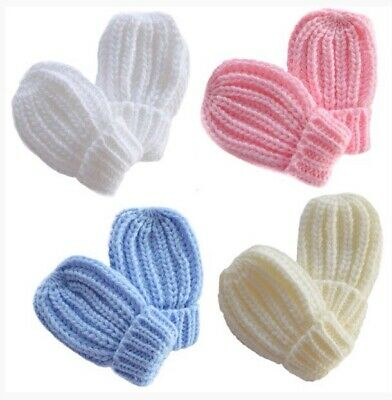 Knitted Ribbed Baby/Infant Winter Mittens 0-12 Months