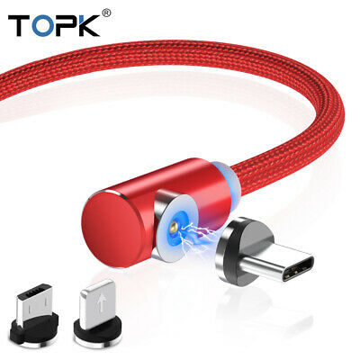 TOPK L-Shape 90° Magnetic Type-C Micro USB Charging Charger Cable For iPhone 2M