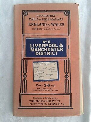 Geographia 2 miles:1 inch Road Map.No 5. LIVERPOOL & MANCHESTER DISTRICT. Paper