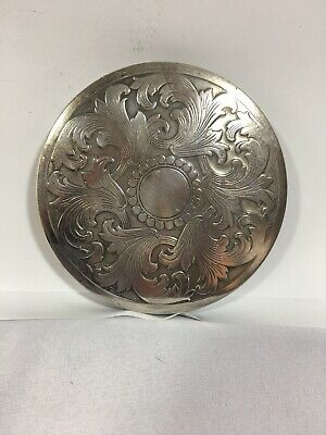 Large Vintage Sterling Silver Compact Ornate Powder Case Rex 5th Ave
