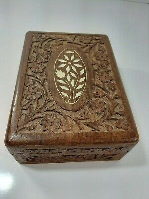 Vintage Wooden Hand Carved Jewellery Box With Mother of Pearl Inlay