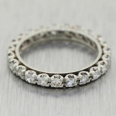 1930s Antique Art Deco 14k White Gold 0.70ctw Diamond Eternity Wedding Band Ring