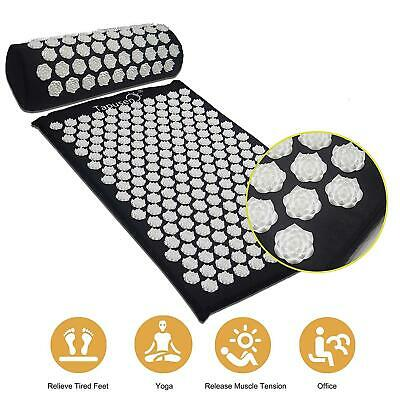 Acupuncture Mat Massage Yoga Mats Fitness Cushion Pillow Set Pin Pad Black