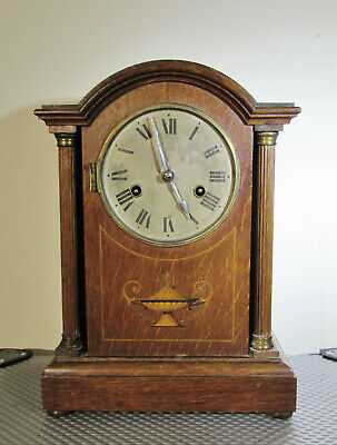 Tall Wooden Antique German Mantel clock by HAC ( cross arrows )