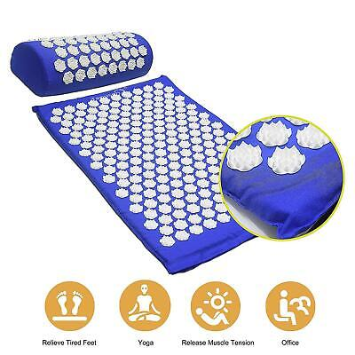 Acupuncture Mat Massage Yoga Mats Fitness Cushion Pillow Set Pin Pad Blue