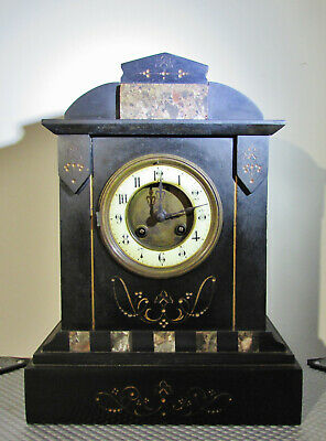 Antique French slate Mantel clock by S Marti