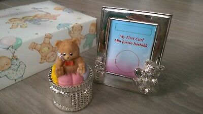 vintage silver plated Teddy First curl photo frame & trinket pot - boxed