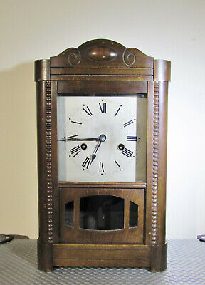 Tall Wooden Mantel clock with silvered dial