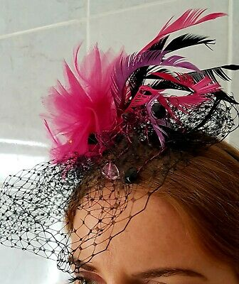 Monsoon Accessorize Alice Band Fascinator/Headpiece Black & Pink, Wedding/Races