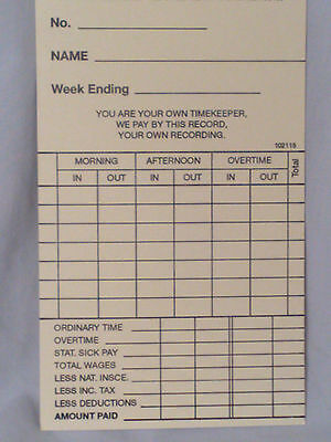 1000 x Weekly Clocking in Time Cards type 102115