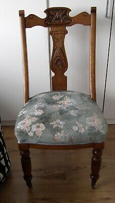 Antique Victorian Chair with Carved Oak Frame