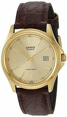 Casio Men's Brown Gold Dial Leather Strap Watch Stainless Steel Quartz Analog
