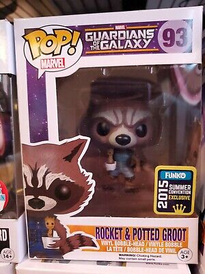 Ships SAME Day!  Funko Pop Guardians Of The Galaxy 93 Rocket & Potted Groot SDCC