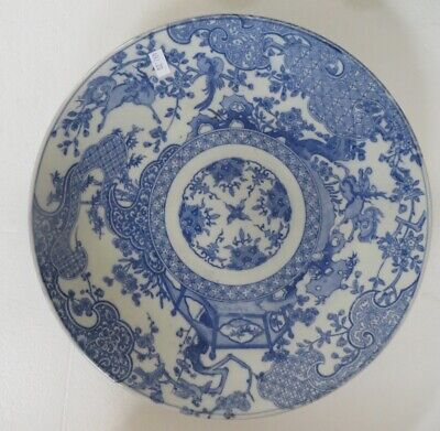 Meiji Period Japanese Arita Imari Porcelain Blue and White Charger Antique