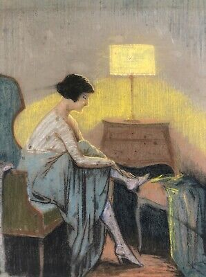 1910s French Pastel Painting On Paper